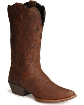 Justin Women's Pull-On Western Boots, Dark Brown, hi-res