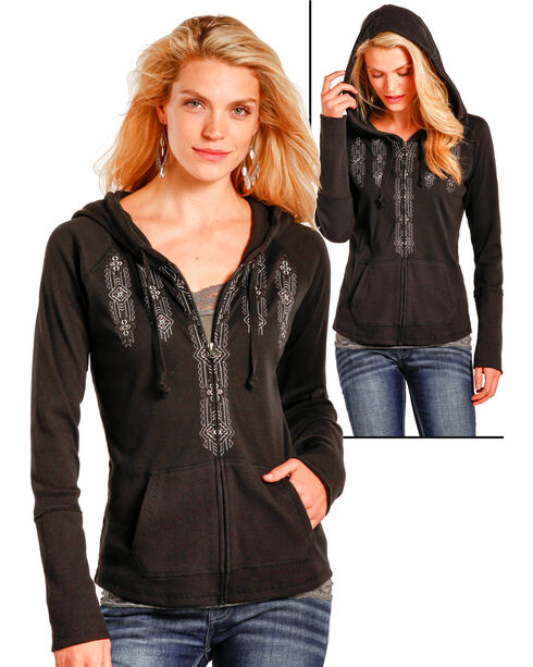 Panhandle Women's Black Full Zip Thermal Hoodie , Black, hi-res