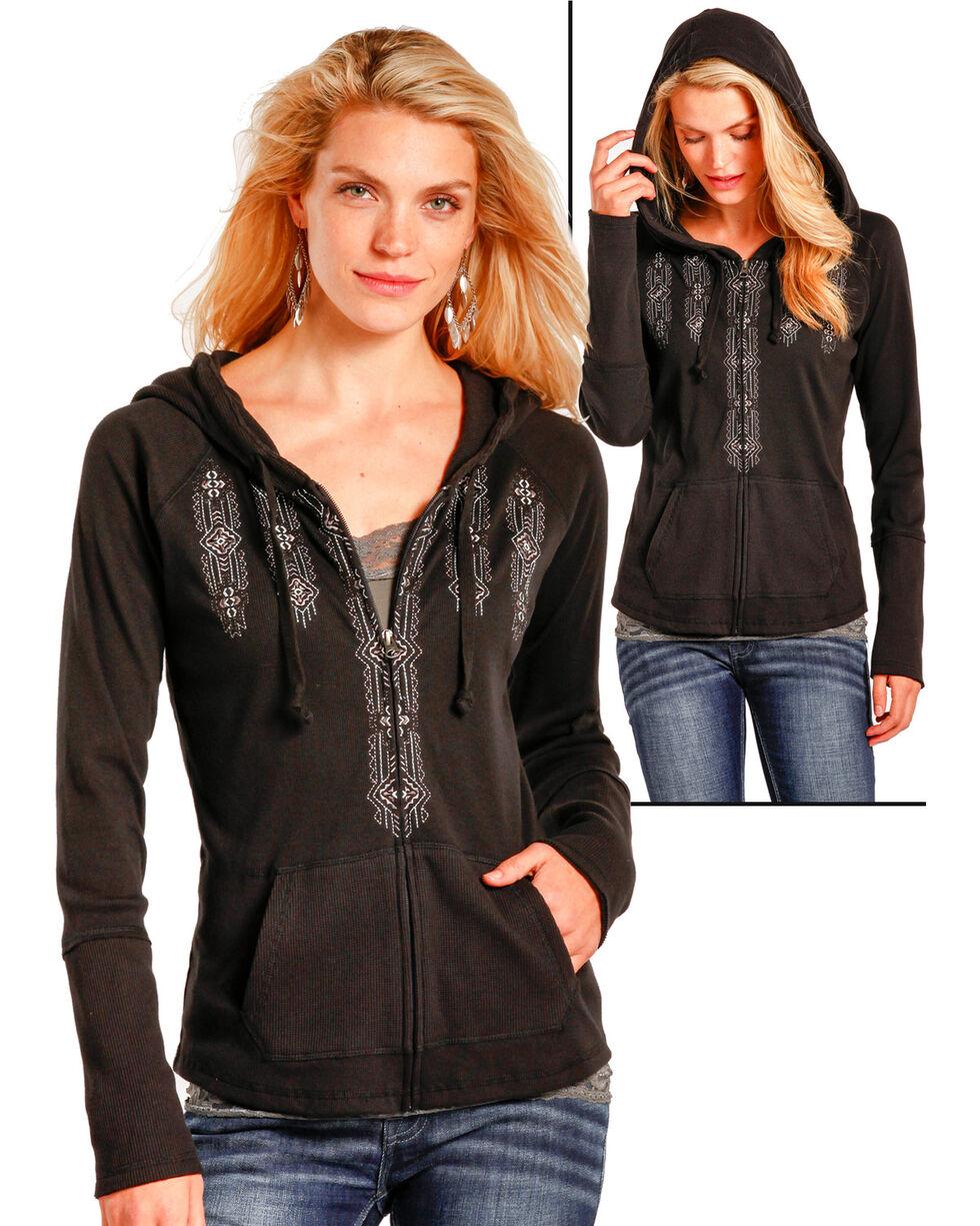 Panhandle Women's Black Full Zip Thermal Hoodie , Black, hi-res