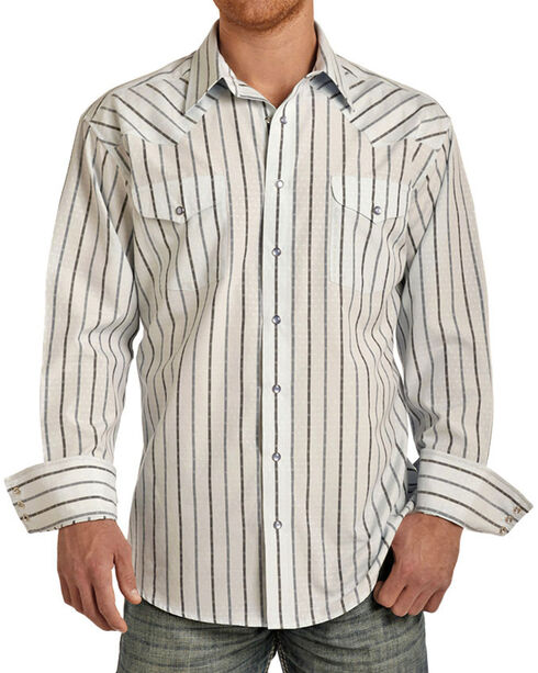 Panhandle Men's Vertical Stripes Long Sleeve Shirt, Light Blue, hi-res