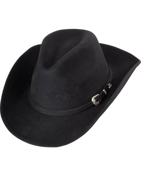 Western Express Men's Black Crushable Wool Felt Hat, Black, hi-res