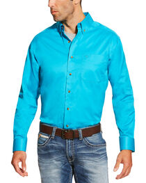 Ariat Men's Turquoise Solid Twill Shirt , , hi-res