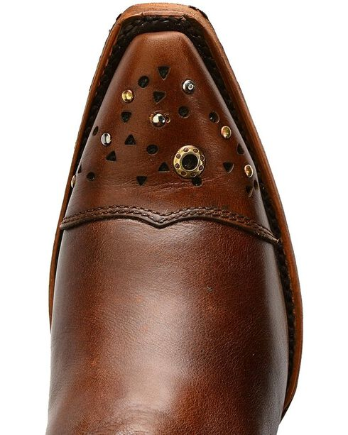 Corral Women's Fringe and Stud Snip Toe Western Boots, Tan, hi-res