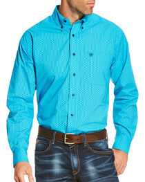 Ariat Men's Blue Riverton Print Long Sleeve Shirt , , hi-res