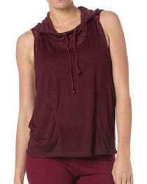 Miss Me Women's Let's Talk Hooded Tank, , hi-res