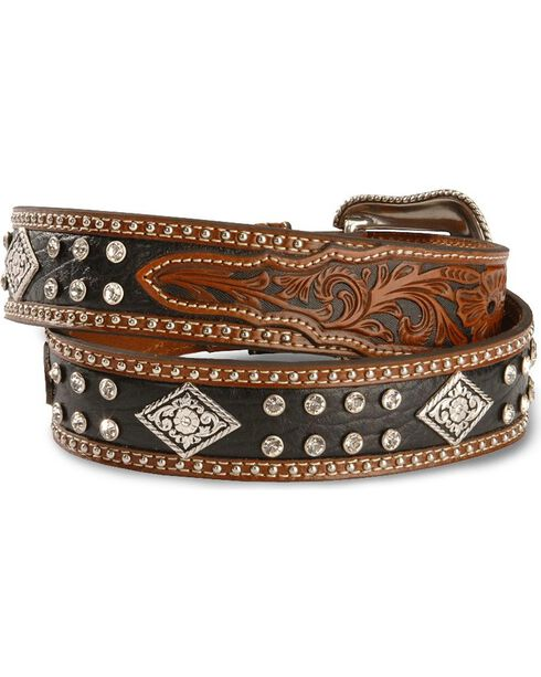 Nocona Black & Tan Bling Western Belt, Multi, hi-res