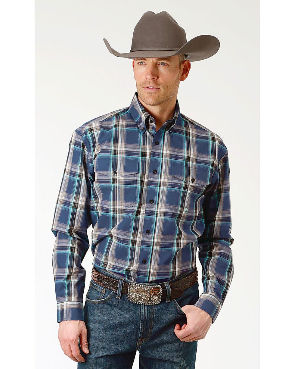 Roper Men's Winter Plum Plaid Long Sleeve Button Down Shirt - Big & Tall, Purple, hi-res