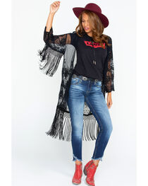 Ariat Women's Black Crochet Fringe Trim Duster, , hi-res