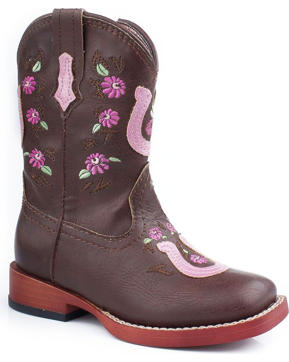 Roper Infant Floral Horseshoe Western Boots, Brown, hi-res