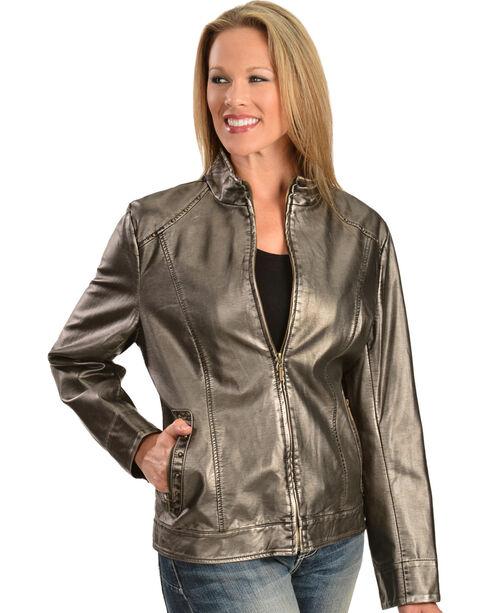 Erin London Women's Platinum Faux Leather Jacket, , hi-res