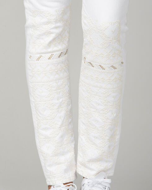 MM Vintage Women's White Gold Embroidered Jeans - Skinny, White, hi-res