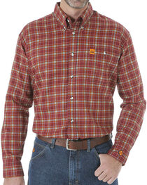 Wrangler Men's Flame Resistant Long Sleeve Plaid Work Shirt, Burgundy, hi-res
