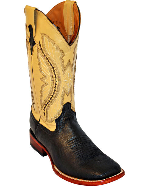 Ferrini Men's Smooth Ostrich Exotic Western Boots, Black, hi-res