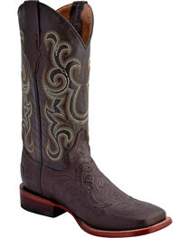 Ferrini Embossed Tooled Western Boots - Square Toe, , hi-res