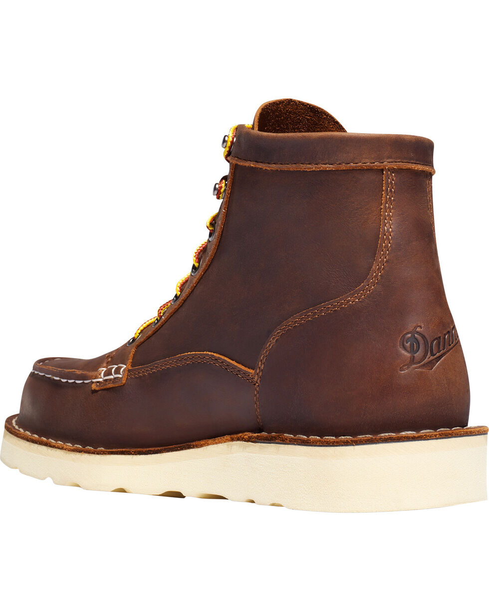 "Danner Men's Bull Run Moc Toe 6"" Work Boots - Soft Toe , Brown, hi-res"