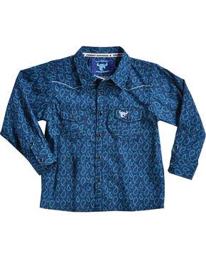 Cowboy Hardware Toddler Boys' Paisley Print Long Sleeve Shirt, Blue, hi-res