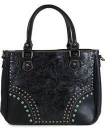 Trinity Ranch Women's Black Embossed Handbag, , hi-res