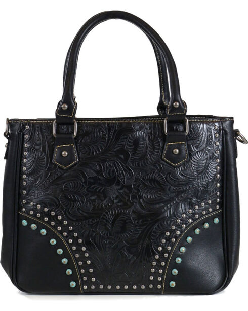 Trinity Ranch Women's Black Embossed Handbag, Black, hi-res