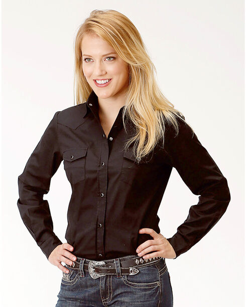 Roper Women's Black Solid Long Sleeve Western Shirt, Black, hi-res