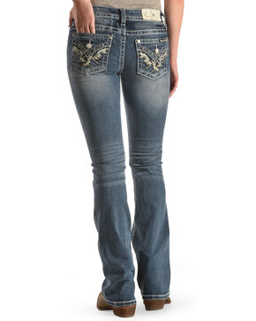 Miss Me Women's Pyramid Flap Boot Cut Jeans , Blue, hi-res