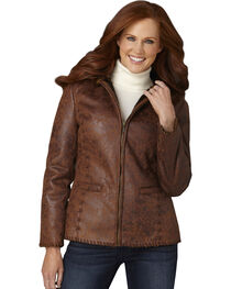 Cripple Creek Antique Faux Shearling Hooded Jacket with Handlaced Trim, , hi-res