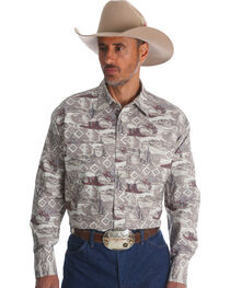Wrangler Men's Khaki Checotah Horse Print Long Sleeve Shirt , , hi-res