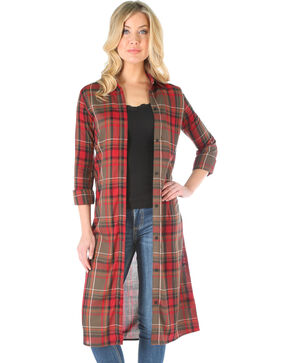 Wrangler Women's Plaid Long Sleeve Duster, Multi, hi-res