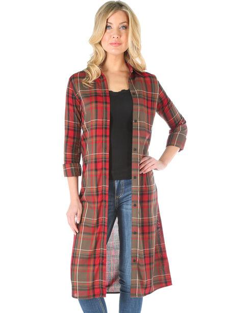 Wrangler Women's Plaid Long Sleeve Duster, Multi, hi-res