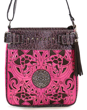 Savana Women's Floral Shoulder Bag, Hot Pink, hi-res