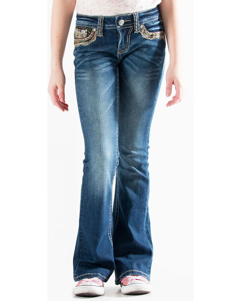 Grace in LA Girls' Indigo (7-16) Real Tree Accent Jeans - Boot Cut , Indigo, hi-res