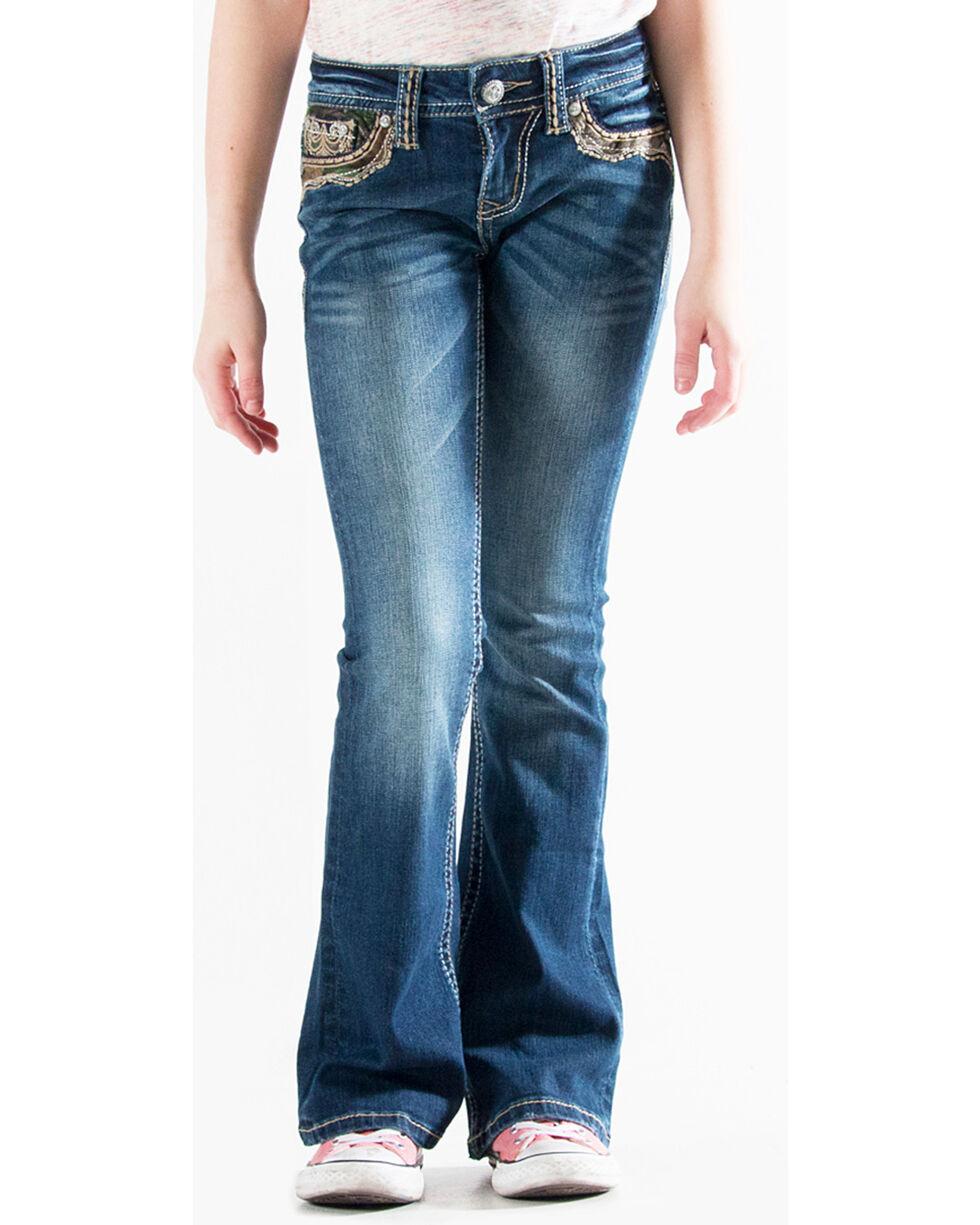 Grace in LA Girls' (7-16) Real Tree Accent Jeans - Boot Cut , Indigo, hi-res