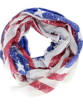 Shyanne® Women's Distressed American Flag Scarf, Multi, hi-res