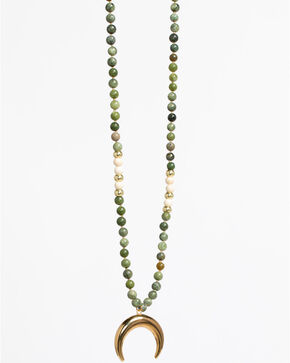 Everlasting Joy Women's Golden Heart Necklace, Green, hi-res
