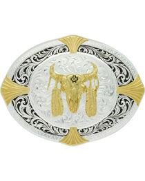 Montana Silversmiths Men's Bull Skull Cardinal Points Belt Buckle , Silver, hi-res