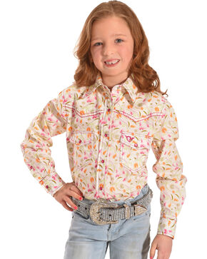 Cowgirl Hardware Girls' Wild Flower Long Sleeve Snap Shirt, White, hi-res