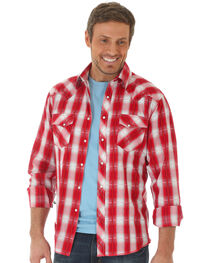 Wrangler Men's Red Fashion Snap Long Sleeve Plaid Shirt , , hi-res