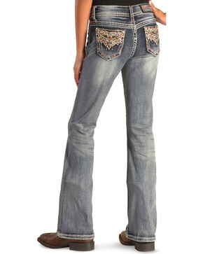 Grace in LA Girls' Multi-Stitch Pocket Bootcut Jeans , Denim, hi-res