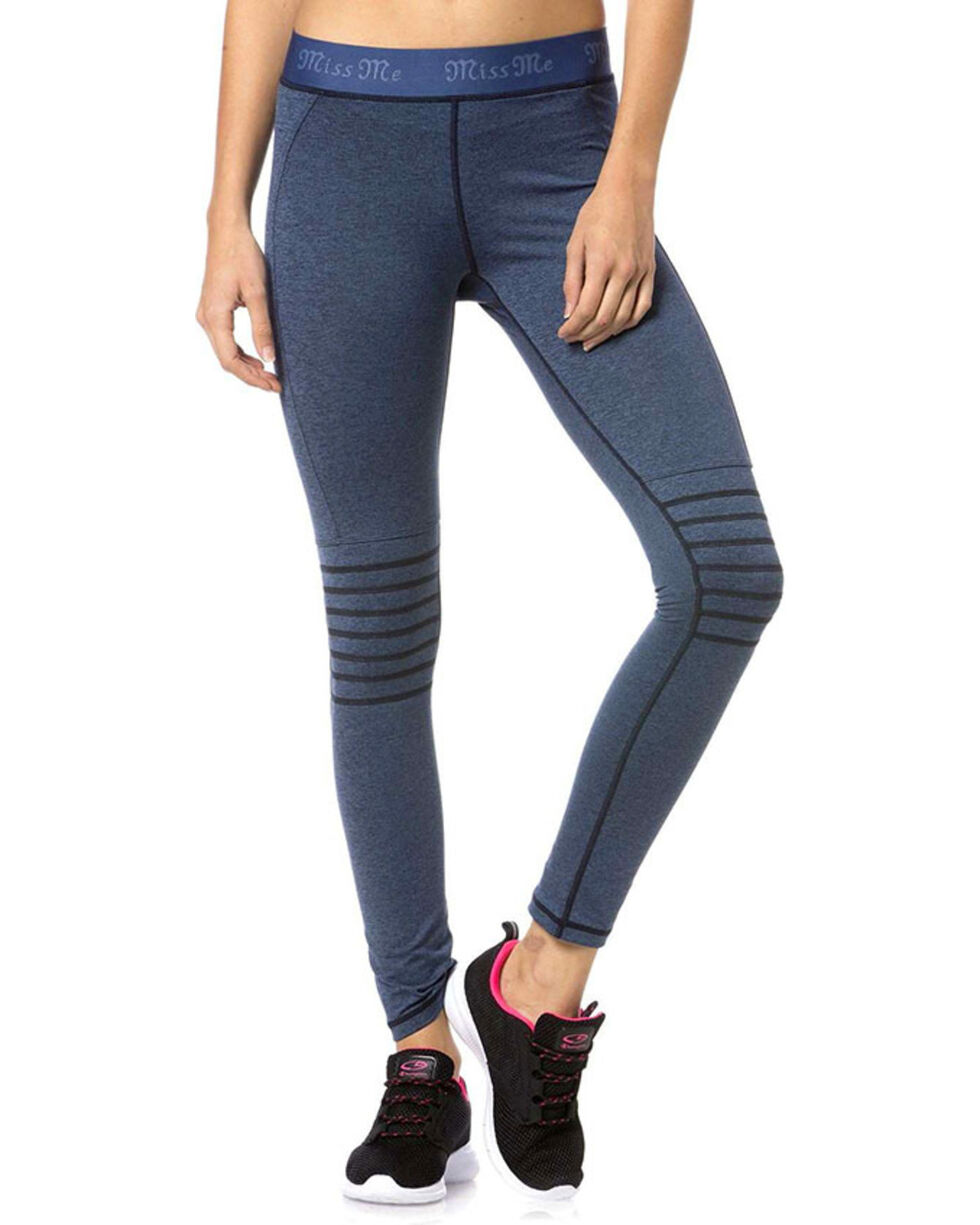 Miss Me Women's Blue Moto Active Leggings, , hi-res
