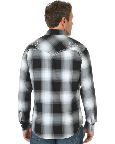 Wrangler Men's Rock 47 Embroidered Plaid Long Sleeve Shirt, Black, hi-res