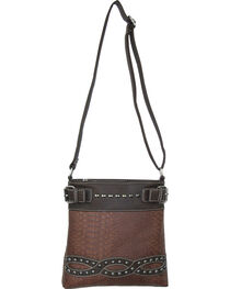 Savana Brown Snake Skin Crossbody Messenger Bag, , hi-res