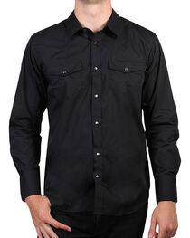 Gibson Men's Solid Western Long Sleeve Shirt, Black, hi-res