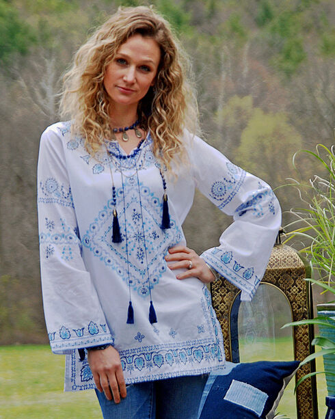Tasha Polizzi Blue Cowgirl Top , White, hi-res
