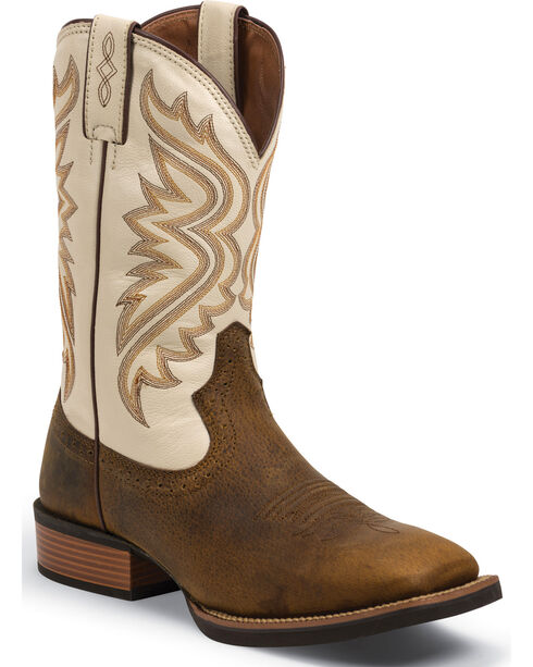 Justin Men's Silver Collection Wide Square Toe Western Boots, Whiskey, hi-res