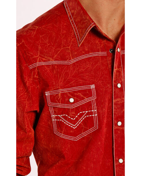 Rock & Roll Cowboy Men's Vintage Western Long Sleeve Shirt, Red, hi-res