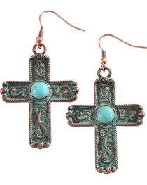 Shyanne Women's Copper Patina Filigree Cross Earrings, , hi-res