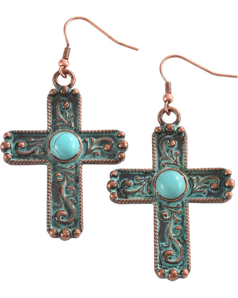 Shyanne Women's Copper Patina Filigree Cross Earrings, Bronze, hi-res