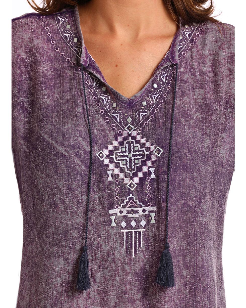 Panhandle Women's Embroidered Tassel Tie Peasant Top - Plus, Purple, hi-res