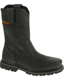 Caterpillar Men's Black Wellston Work Boots - Steel Toe , , hi-res