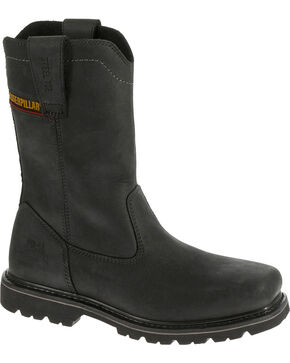 Caterpillar Men's Black Wellston Work Boots - Steel Toe , Black, hi-res