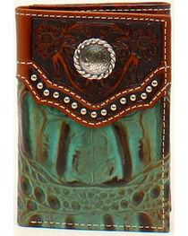 Nocona Men's Tri-Fold Croc Rawhide Wallet, , hi-res